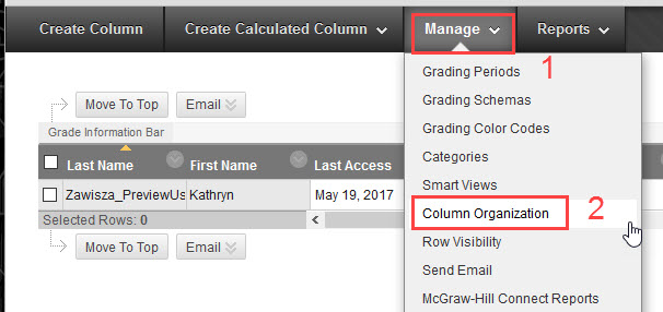 click manage then click column organization