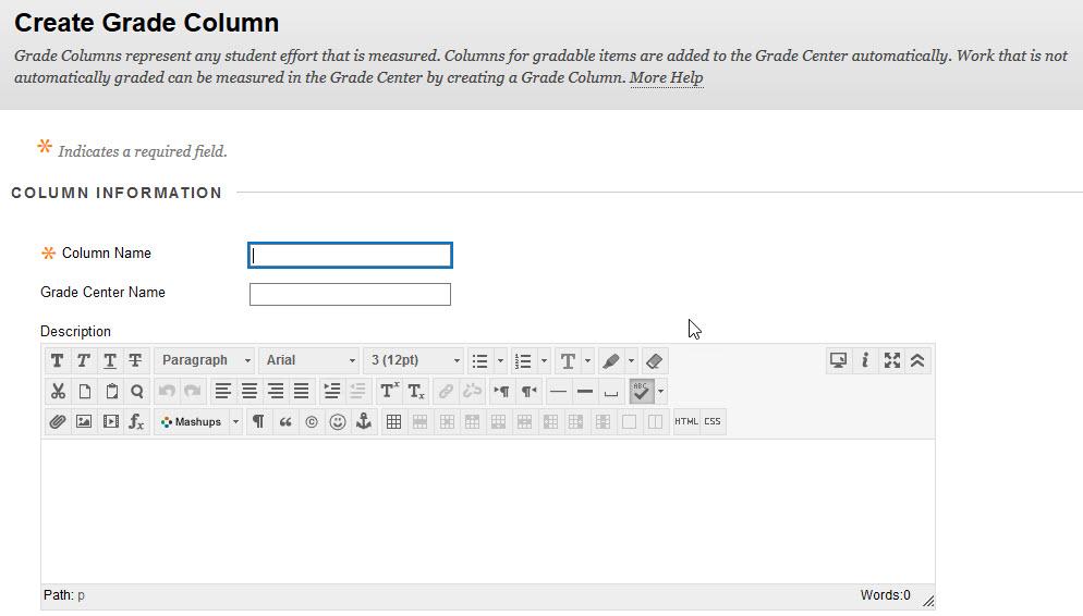 create grade column info