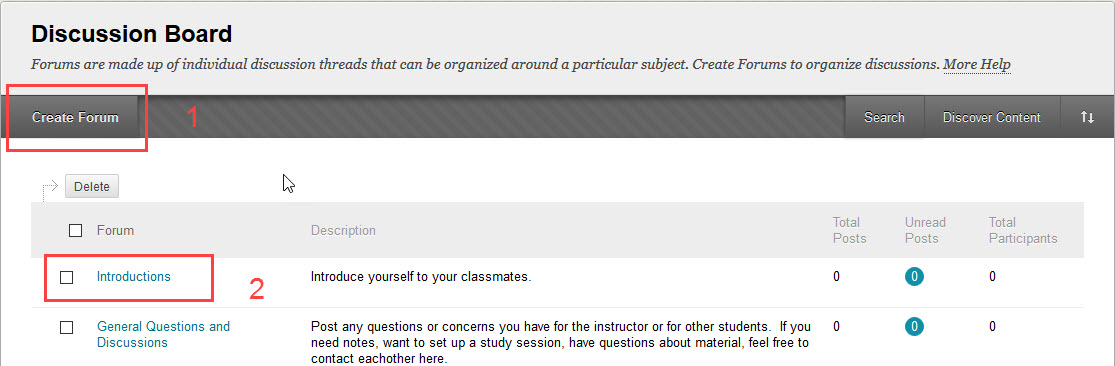 create a discussion forum or edit an existing one