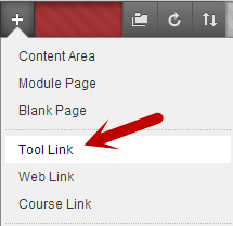 plus sign at top left of course menu, with Tool Link highlighted