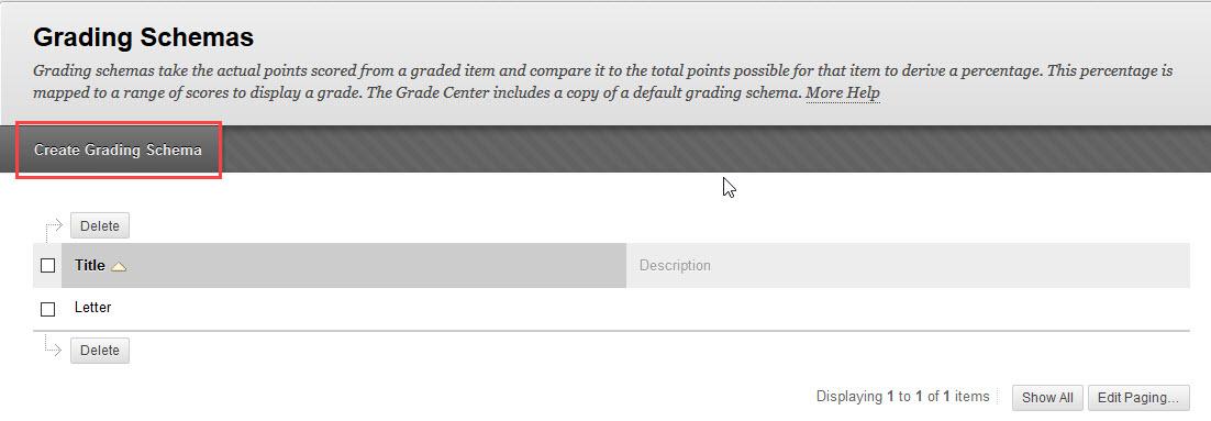click create grading schema