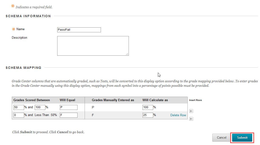 click submit to save schema