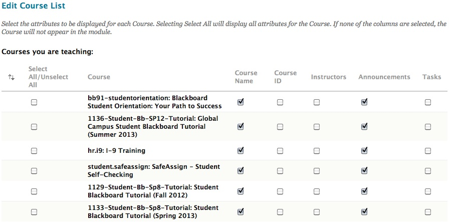 Edit Course list