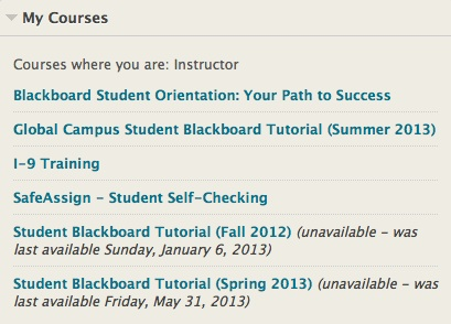 My Courses list