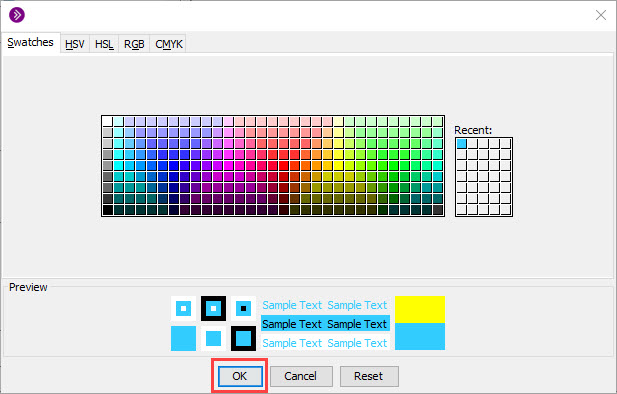 choose color and click ok