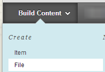 build content dropdown menu with file option selected