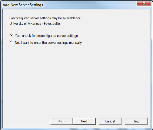 Check for pre-configured settings