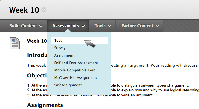 Choose Assessments and Test