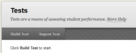 click build test or import test