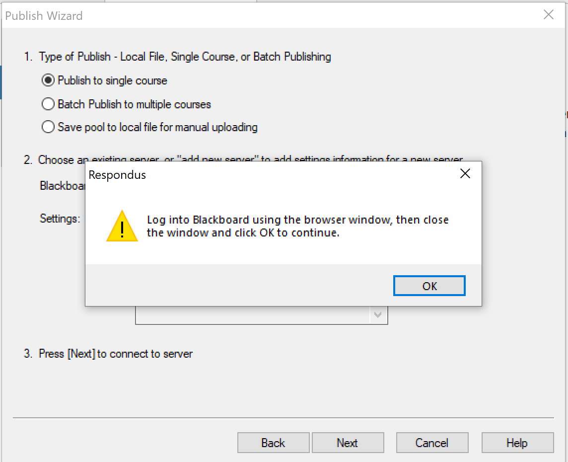 click Ok on remaining pop up