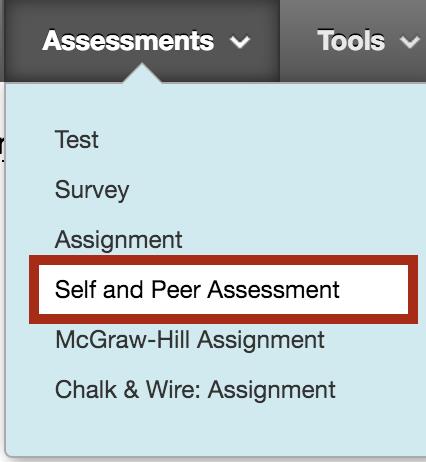 Self and peer assessment menu item