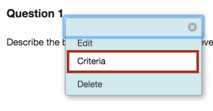 Select Criteria from drop-down menu.