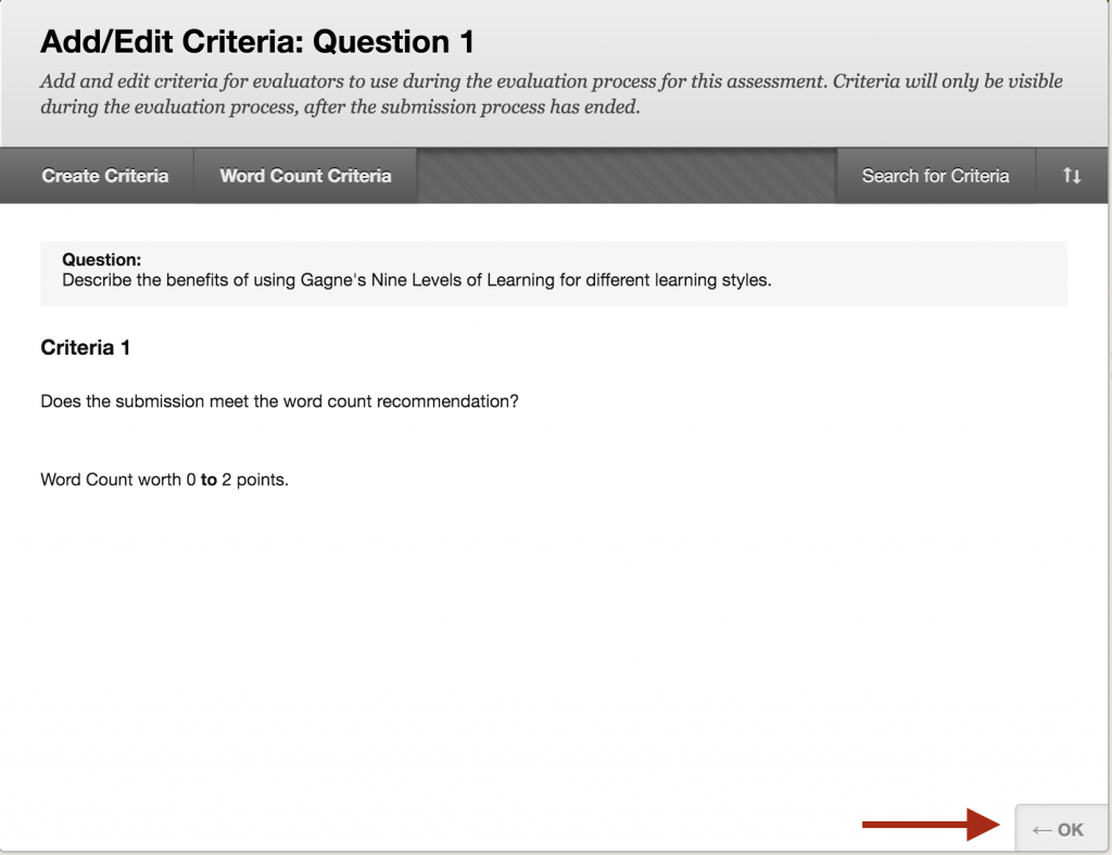 The question and criteria are displayed after submitting.