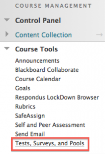 In the instructor's course tools, select Tests, Surveys, and Pools