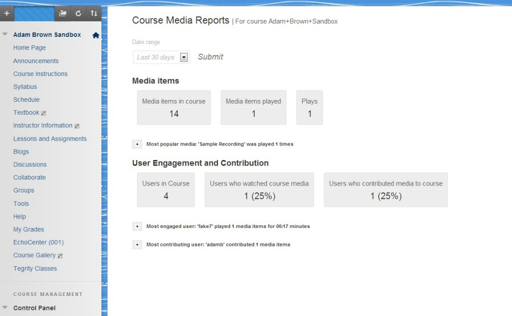 Kaltura Course Media Reports