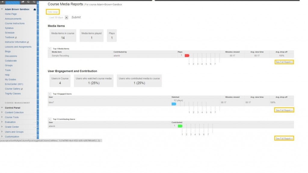 Kaltura expanded report interface