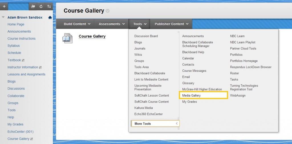 Kaltura Media Gallery menu item