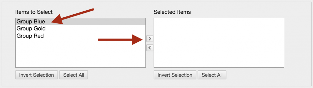 Items to Select and Selected Items box