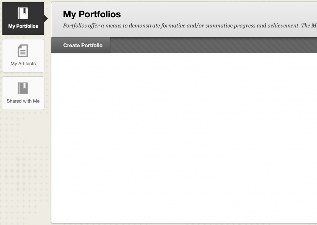 My Portfolios featuring three subsections
