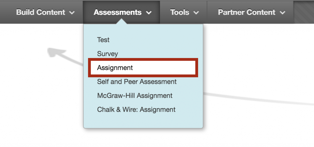 Select Assignment from Assessments Menu