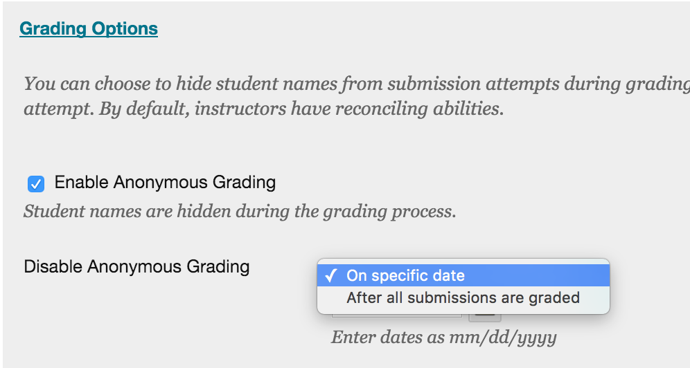 Choose condition to disable anonymous grading