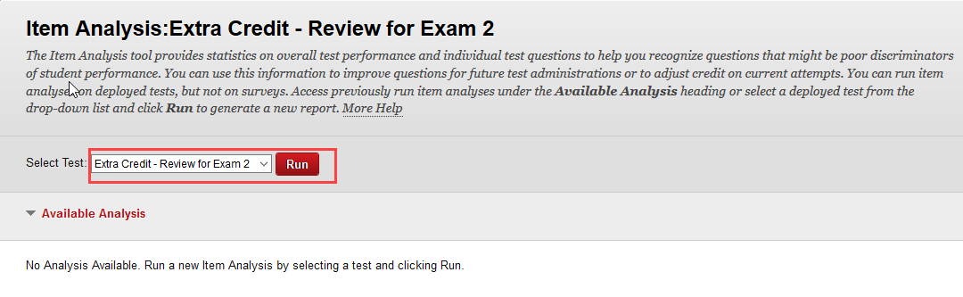 select the test for analysis from the drop down menu