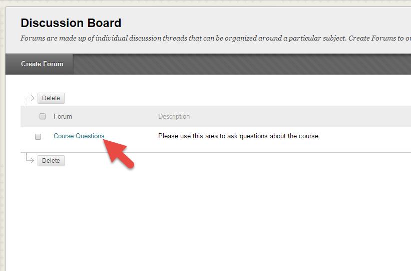 Discussion board forum title