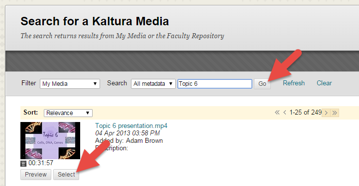 Search for Kaltura Media