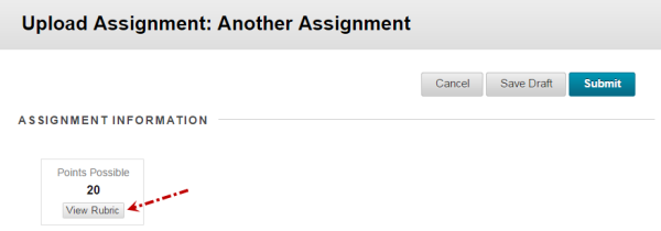 assignment tool view rubric button