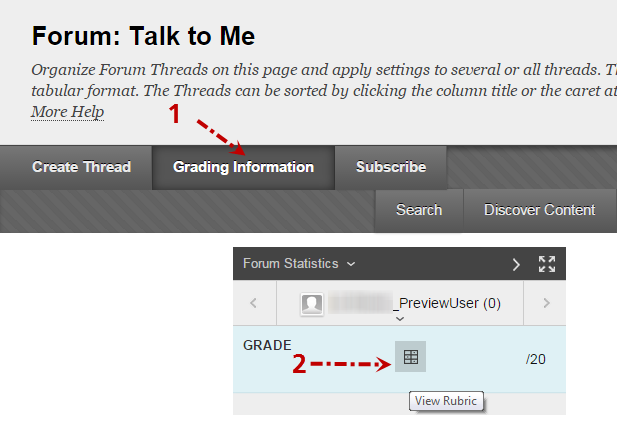 grading information button and view rubric