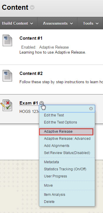 Adaptive release grade rule drop down menu.