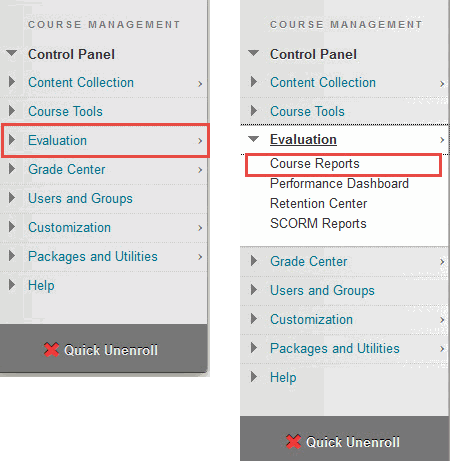 expand Evaluation and select Course Reports