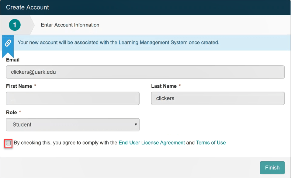 Select the checkbox to agree to the terms and click Finish.