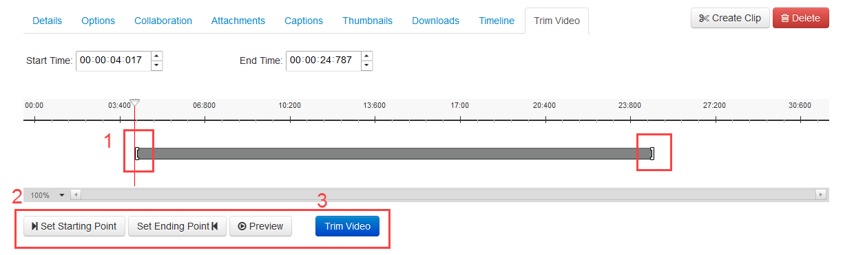 Select the trim video options