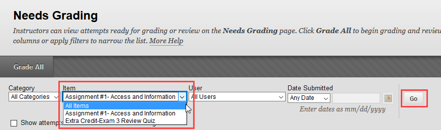 click the item you wish to grade and click go