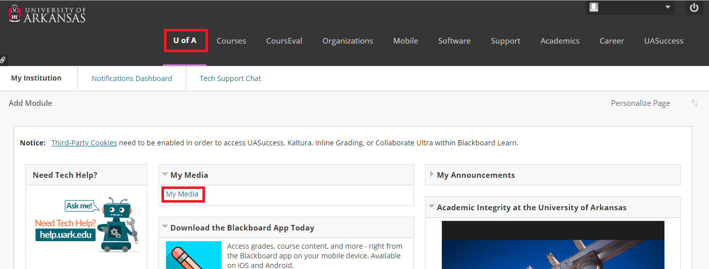 My Media on Blackboard