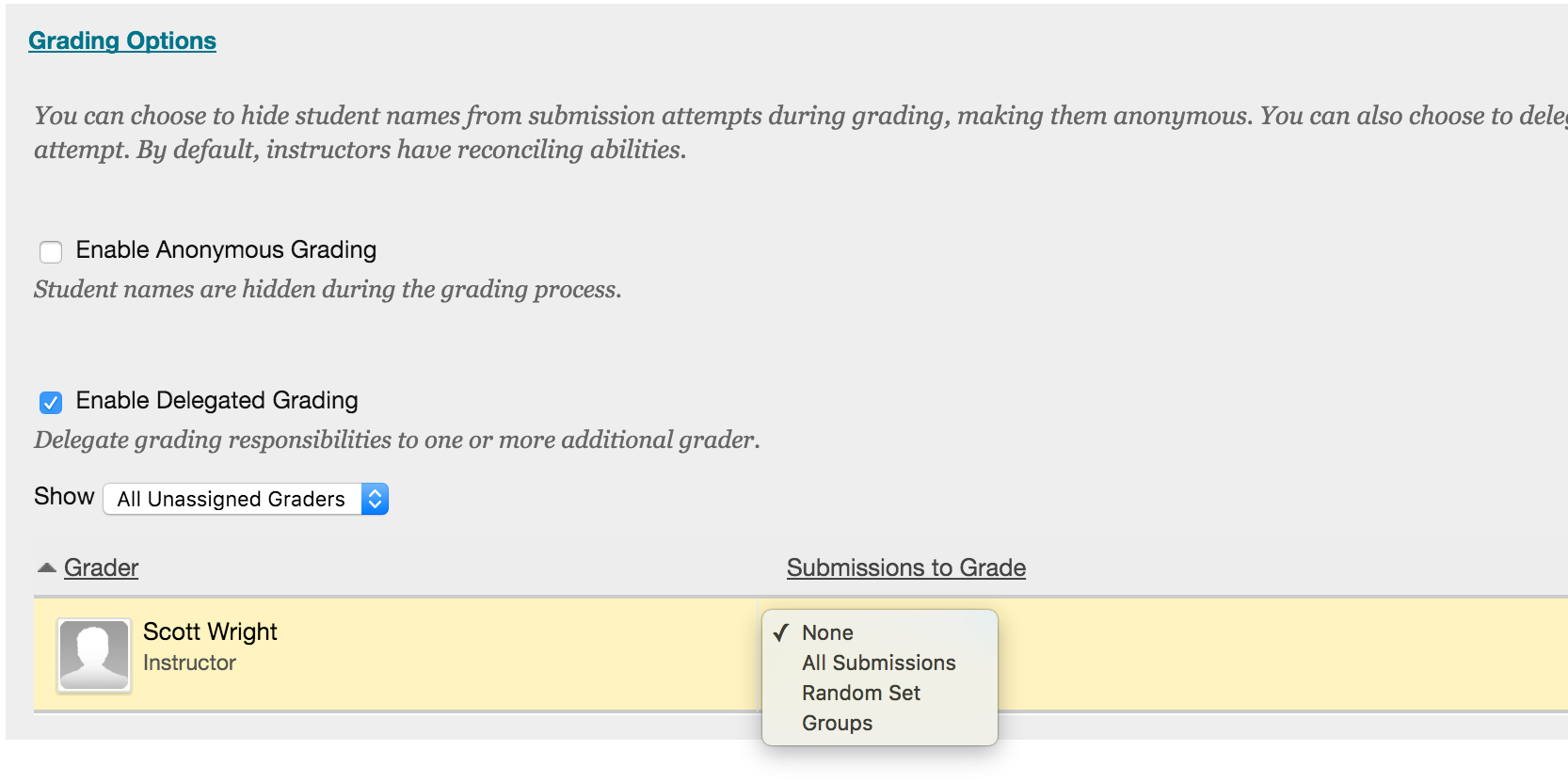 Assign Submissions To Selected Grader