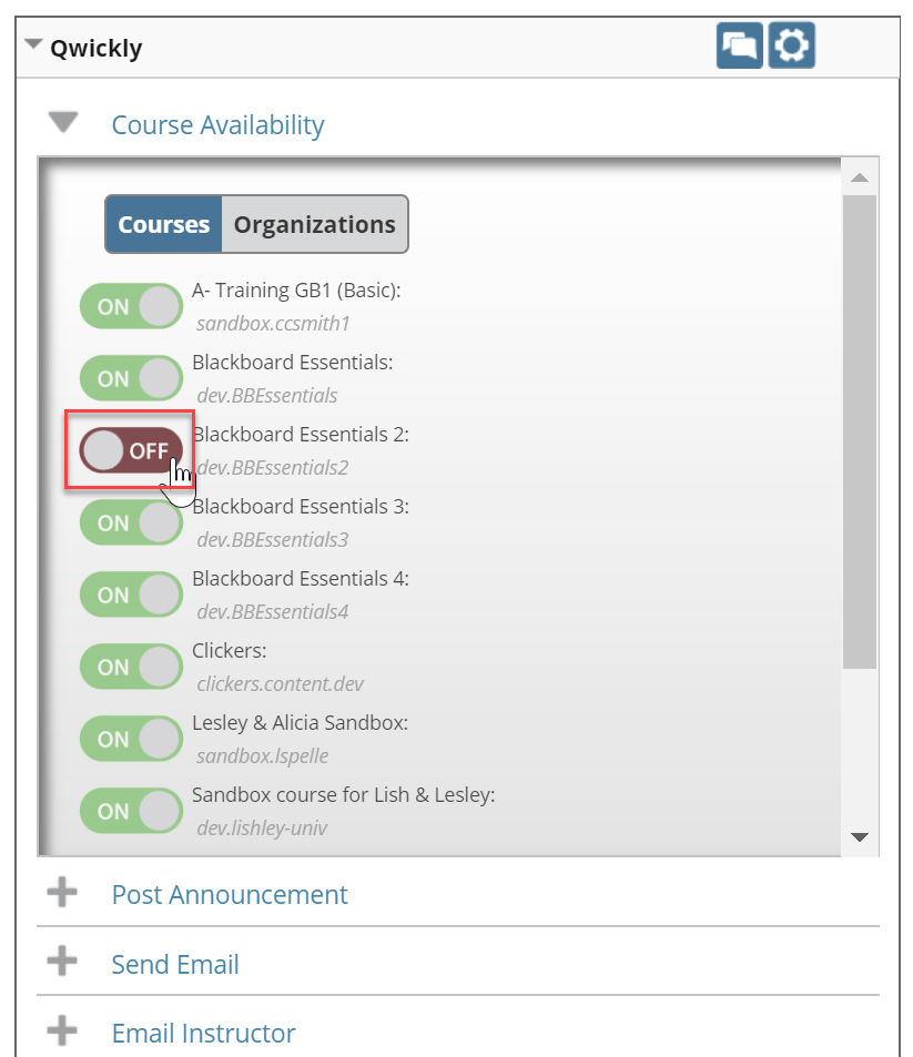 Click Off button to change it to on and make the course available
