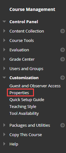 in the left course management menu, properties is highlighted