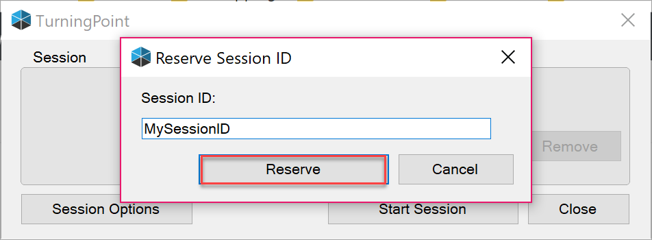 Type the reserved session id of your choice and click Reserve