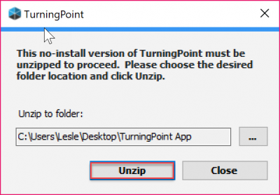 Browse to your TurningPoint receiver's drive and click Unzip