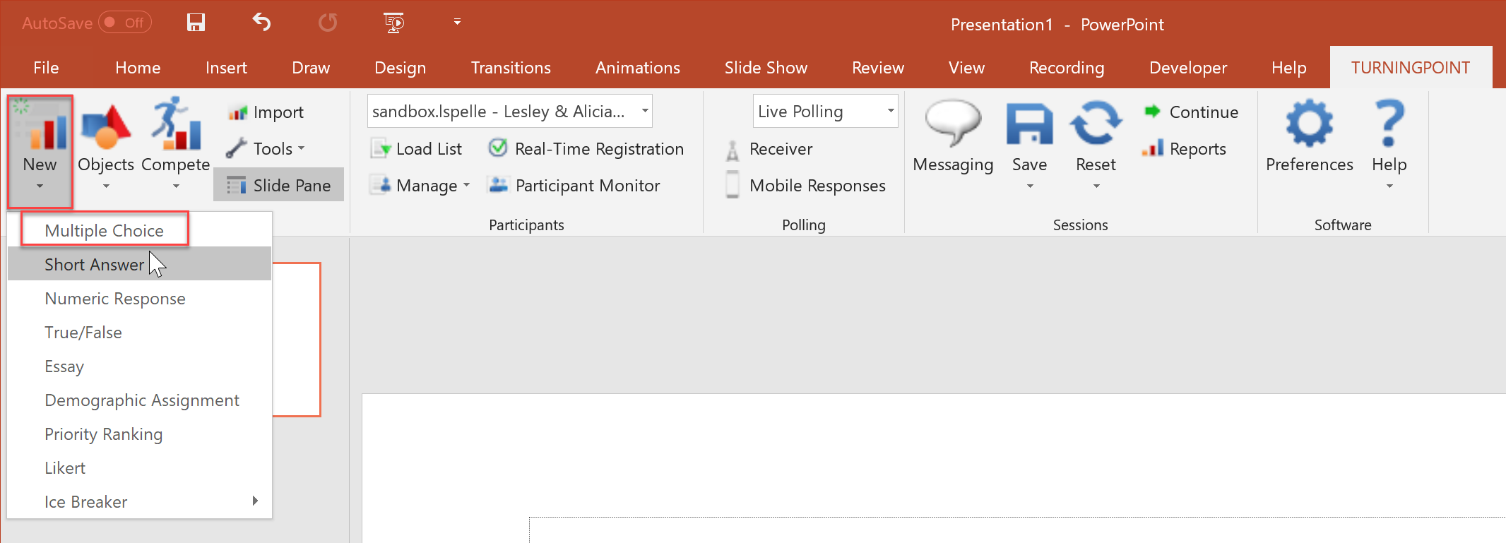 Clickers: Create a PowerPoint Question using TurningPoint