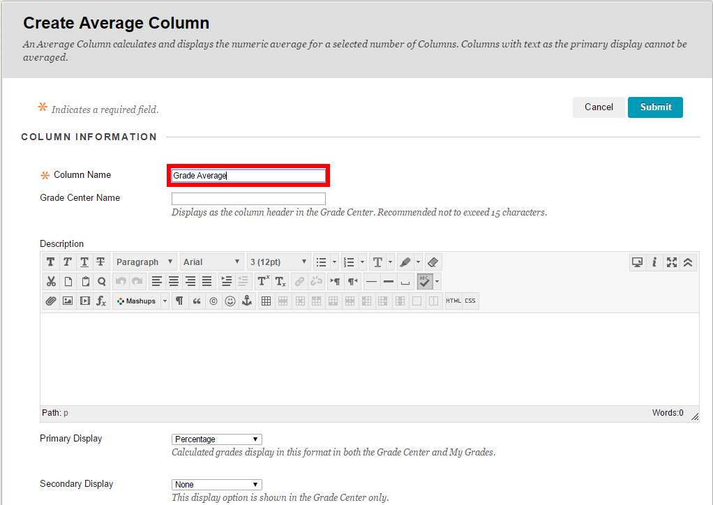 Enter a name for your column in the Column Name field.