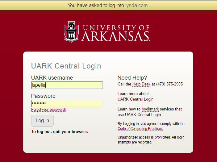 Log in using your UARK login and password.