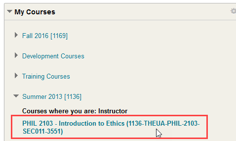 click on the course where the syllabus will go