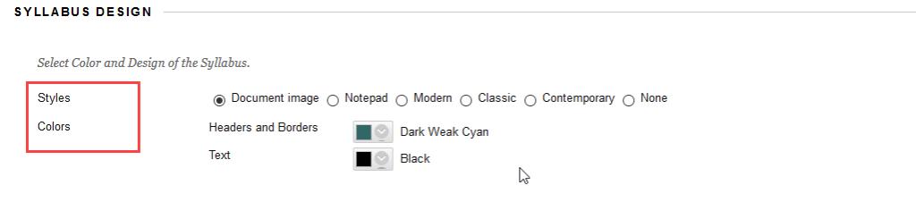 select design settings syllabus