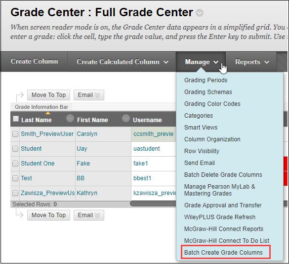 select batch create grade column