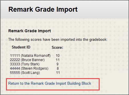 to enter another exam click return to remark grade import