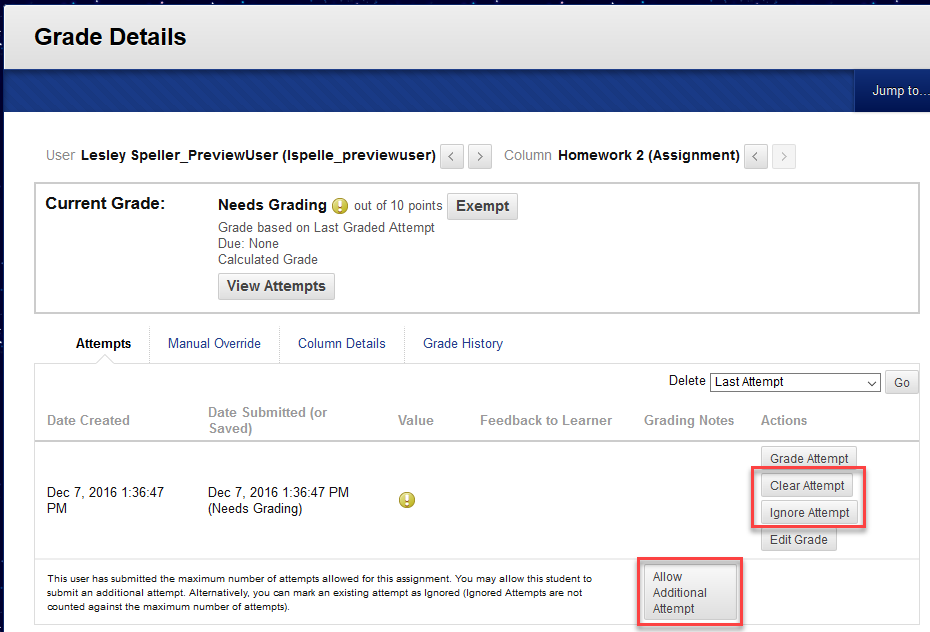 Example of Grade Details page