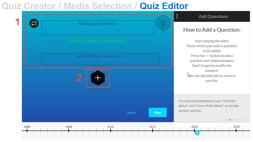 create your quesiton and click the plus for additional answer options
